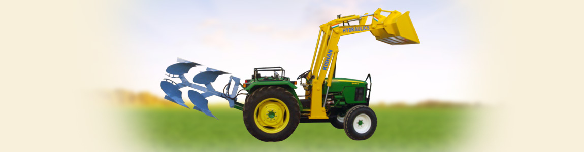 Tractor Mounted Mini Loader with Hydraulic Multi Plough | Kishan Equipments